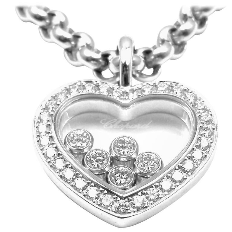 Chopard happy diamond heart white gold pendant necklace at 1stdibs chopard happy diamond heart white gold pendant necklace for sale aloadofball Gallery
