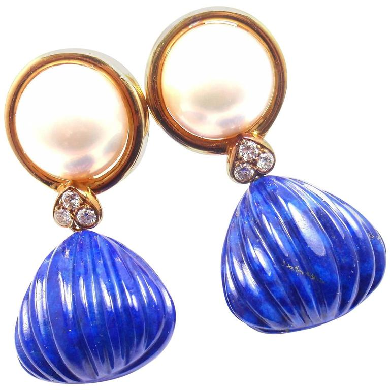 Christian Dior Diamond Lapis Lazuli Mabe Pearl Yellow Gold Earrings