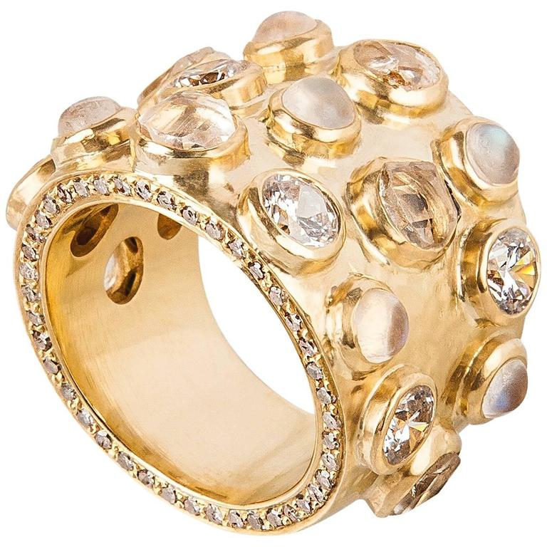 18 Karat Gold Cocktail Ring with Diamonds, Sapphires and Moonstones