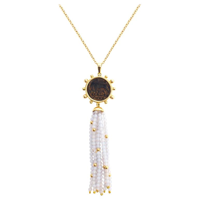 Dubini Ancient Capitoline-Wolf Bronze Coin Chalcedony Tassel Gold Necklace