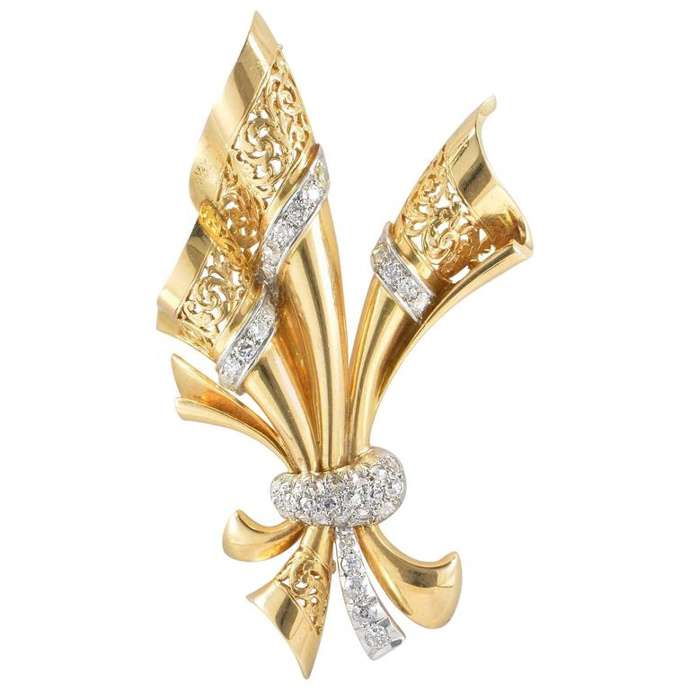 Large Retro Bow Brooch, circa 1940 For Sale