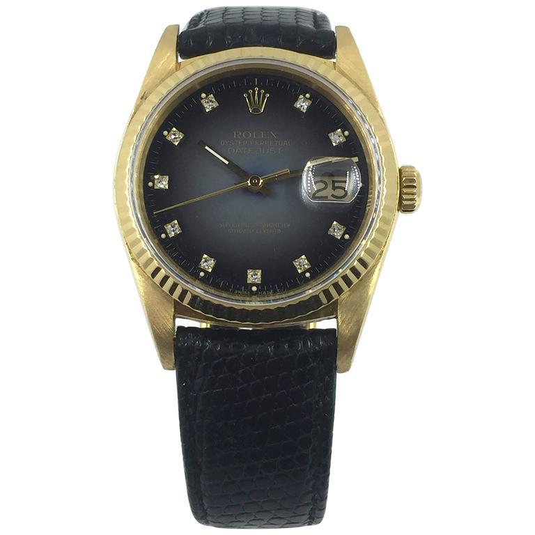 Rolex Yellow Gold Grey Vignette Diamond Dial Datejust Automatic Wristwatch