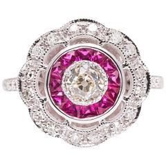 Diamond and Ruby Target Motif White Gold Ring