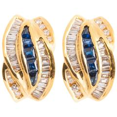 Tiffany & Co. Sapphire and Diamond Gold Earrings
