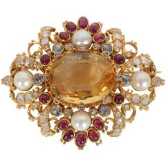 Multigem Brooch with Citrine Center