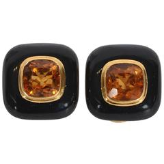 Onyx and Citrine Earrings