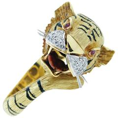 Powerful and Whimsical Tiger Bracelet with Diamonds and Enamel