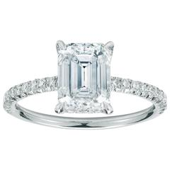 2.04 Carat Emerald Cut Diamond Engagement Ring with Micro Pave in Platinum
