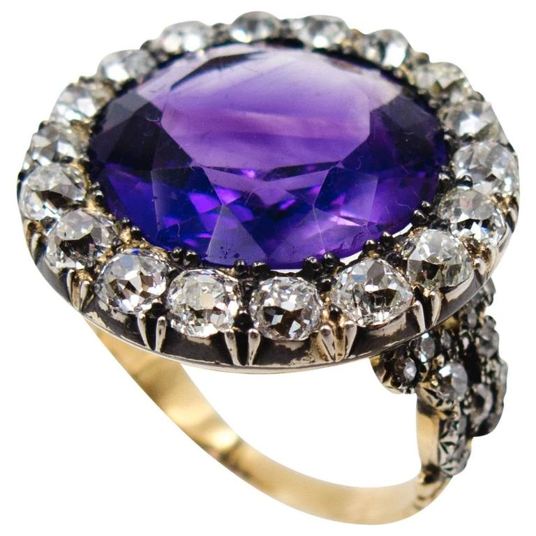 Impressive Antique Victorian Amethyst Diamond Cluster Ring