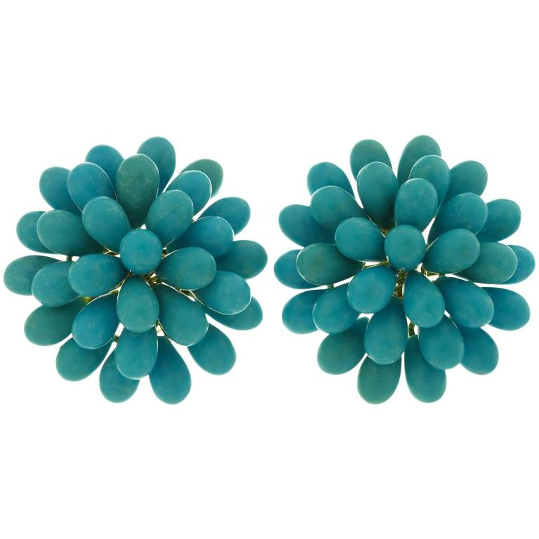 Natural Turquoise Cluster Yellow Gold Earrings