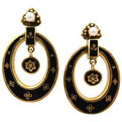 Victorian Pearl Gold Enamel Creole Style Earrings