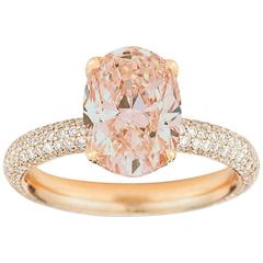 2 Carat Morganite with Five Rows of Diamond Micro Pave Ring