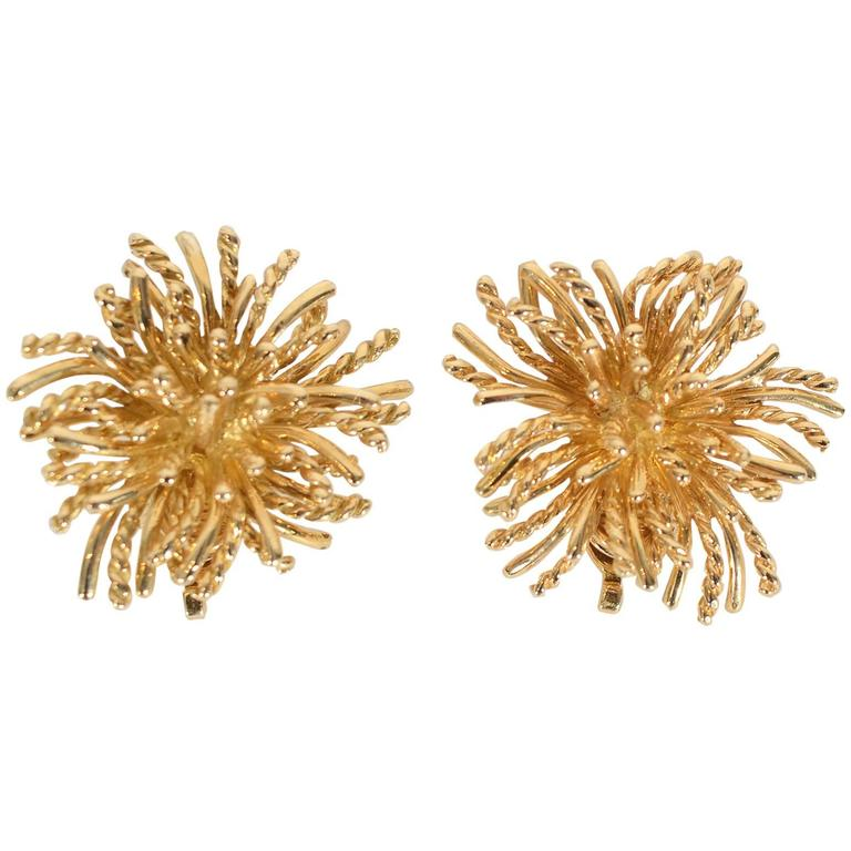 Tiffany & Co. Anemone Gold Earclips 1
