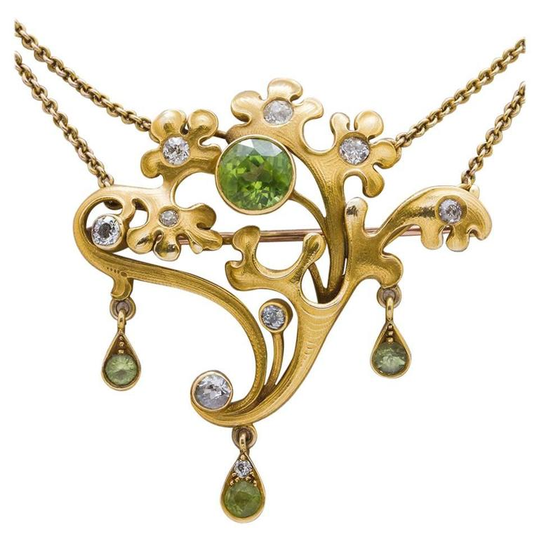 Art Nouveau  Peridot and Diamond Pin and Pendant   For Sale