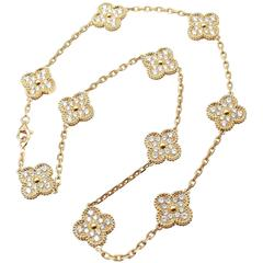 Van Cleef & Arpels Vintage Ten Motif Diamond Alhambra Yellow Gold Necklace