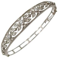 Elegant Edwardian Filigree Platinum Topped Gold Diamond Bangle Bracelet