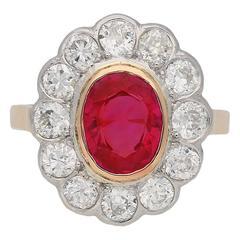 Antique Burmese Ruby and Diamond Cluster Ring, English, circa 1910
