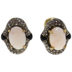 Coral Diamond Onyx Gold Earrings