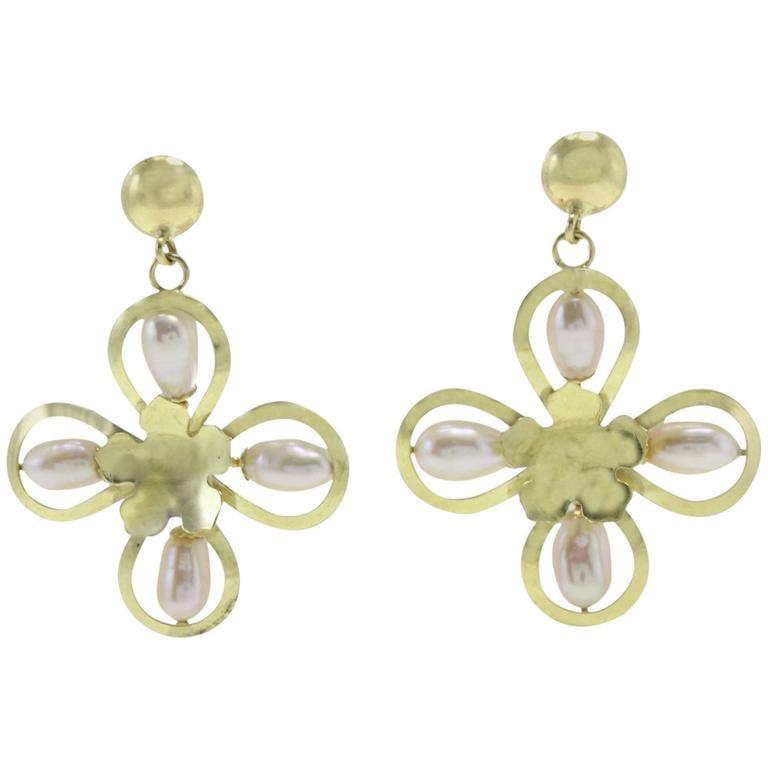 Pearl Yellow Gold Flower Earrings