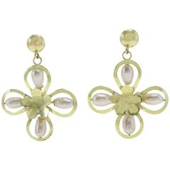 Pearl Yellow Gold Flower Earrings