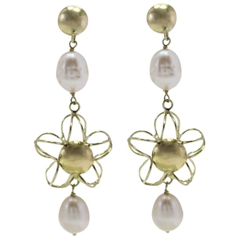 Yellow Gold Pearl Dangle Earrings