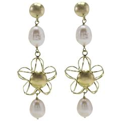 Yellow Gold Pearl Dangle Earrings