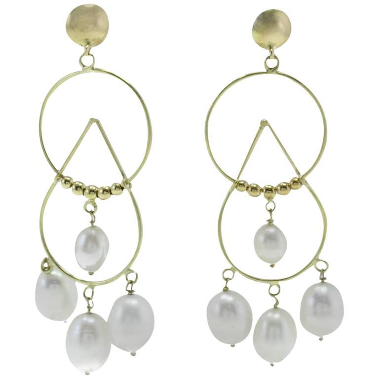 Luise Pearl Drop Yellow Gold Earrings