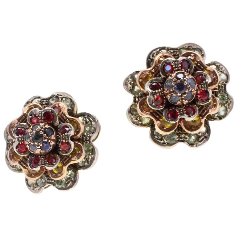 KT 9,17 sapphire multicolor,rose gold and silver Earrings