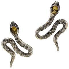 Luise Diamond Topaz Snake Earrings