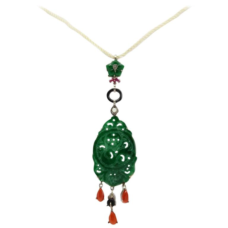 Green Agate Coral Onyx Ruby Diamond  Gold and Silver Pendant