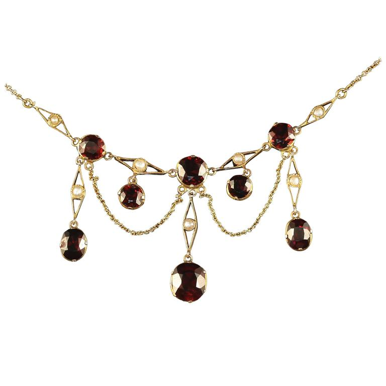 Antique Victorian Garnet Pearl Yellow Gold Lavaliere Necklace For Sale