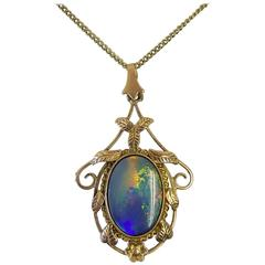 Arts & Crafts Gold Black Doublet Opal Pendant Necklace