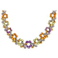 Garrard Diamond and Multi Gem 18 Karat Gold Necklace