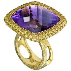 Amethyst Yellow Sapphire Royal Gold Cocktail Ring One of a Kind Handmade in NYC