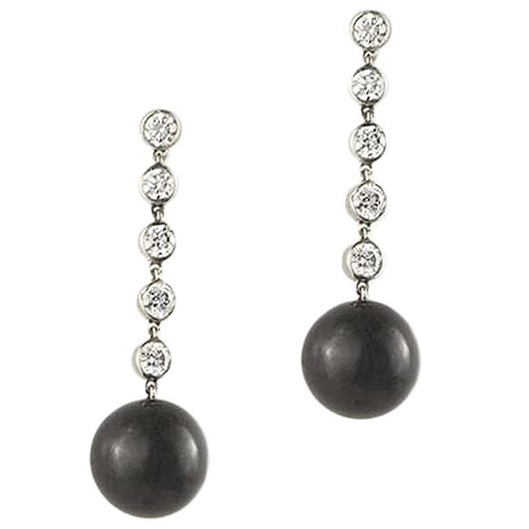 Tiffany Co Ziegfeld Diamond And Onyx Drop Earrings For