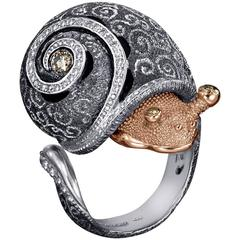 Alex Soldier Diamond Gold Silver Codi The Snail Swirl Ring Ltd Ed Handmade in NY
