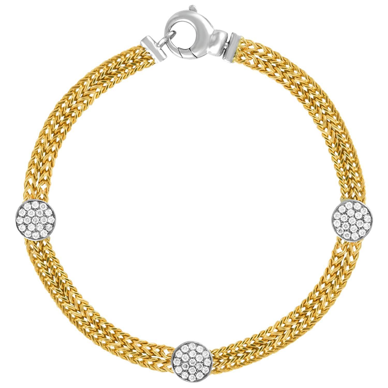 0.51 Carats Diamond Double Chain Gold Bracelet
