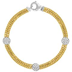 Double Chain 0.51 Carats Diamond and Gold Bracelet