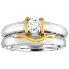 0.35 Carat Diamond Gold Engagement Band Set