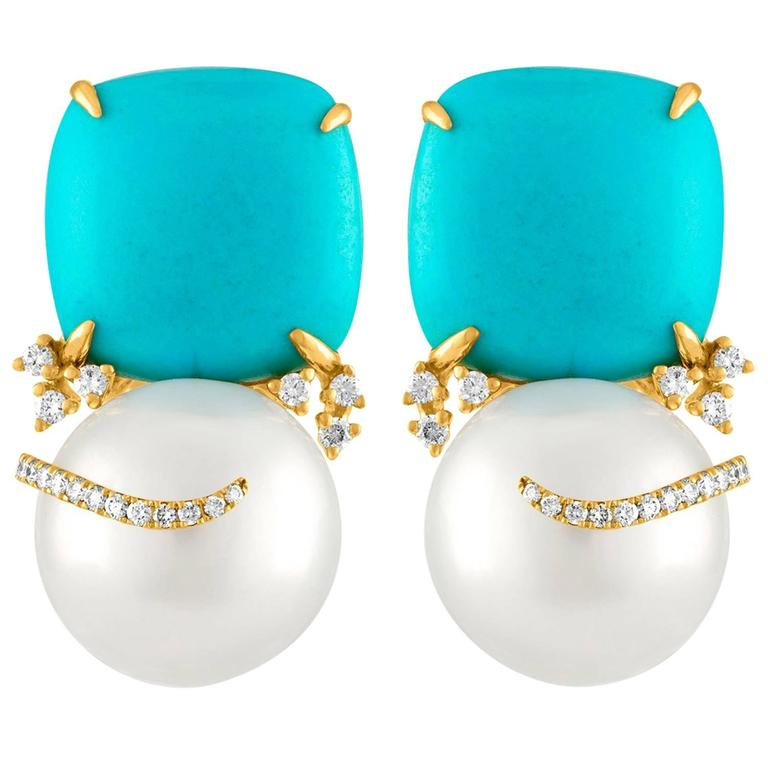Turquoise and South Sea Pearl Gold Diamond Earrings For Sale