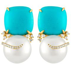 Turquoise and South Sea Pearl Gold Diamond Earrings