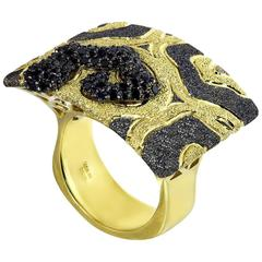 Black Diamond and Gold Textured Volna Ring One of a Kind Handmade in NYC