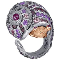 Alex Soldier Sapphire Tourmaline Diamond Topaz Ruby Nautical Snail Ring