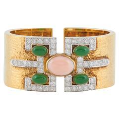 Coral Onyx Diamond Gold Cuff Bracelet
