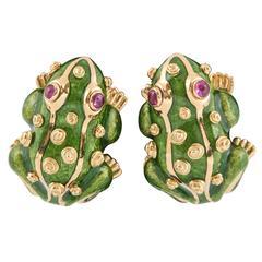 David Webb Enamel Gold  Frog Earrings