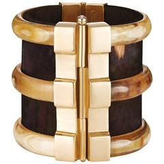 Fouche Bespoke Diana Vreeland Horn Emerald Opal Ruby Wood Gold Cuff Bracelet