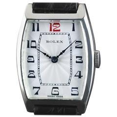 Rolex Sterling Silver Tonneau Wristwatch 1926