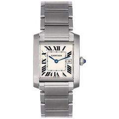 Cartier Stainless Steel Tank Francaise Midsize Quartz Wristwatch Ref 51011Q3