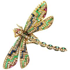 Multi Stone Yellow Gold Dragonfly Pin