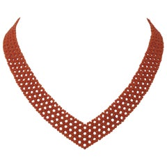 "Marina J. Woven ""V""  Shape Red-Orange Coral Necklace with Sliding Clasp"